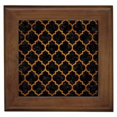 Tile1 Black Marble & Yellow Grunge (r) Framed Tiles