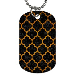 Tile1 Black Marble & Yellow Grunge (r) Dog Tag (one Side)