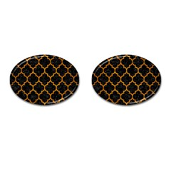 Tile1 Black Marble & Yellow Grunge (r) Cufflinks (oval)