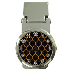 Tile1 Black Marble & Yellow Grunge (r) Money Clip Watches
