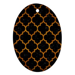 Tile1 Black Marble & Yellow Grunge (r) Oval Ornament (two Sides)