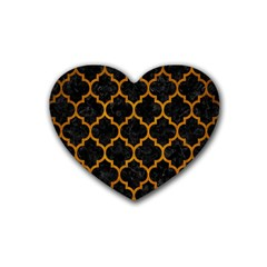 Tile1 Black Marble & Yellow Grunge (r) Rubber Coaster (heart)