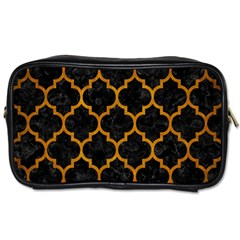 Tile1 Black Marble & Yellow Grunge (r) Toiletries Bags
