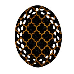 Tile1 Black Marble & Yellow Grunge (r) Oval Filigree Ornament (two Sides)