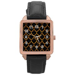 Tile1 Black Marble & Yellow Grunge (r) Rose Gold Leather Watch