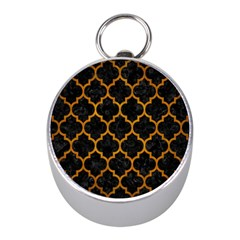 Tile1 Black Marble & Yellow Grunge (r) Mini Silver Compasses