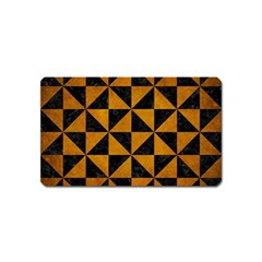 Triangle1 Black Marble & Yellow Grunge Magnet (name Card)