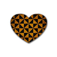 Triangle1 Black Marble & Yellow Grunge Rubber Coaster (heart)