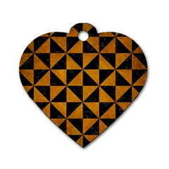 Triangle1 Black Marble & Yellow Grunge Dog Tag Heart (two Sides)