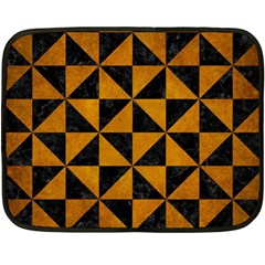 Triangle1 Black Marble & Yellow Grunge Double Sided Fleece Blanket (mini)