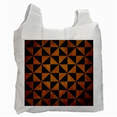 Triangle1 Black Marble & Yellow Grunge Recycle Bag (two Side)