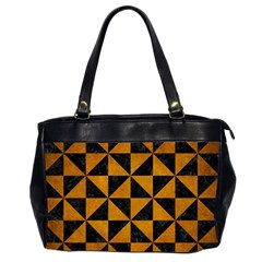 Triangle1 Black Marble & Yellow Grunge Office Handbags (2 Sides)