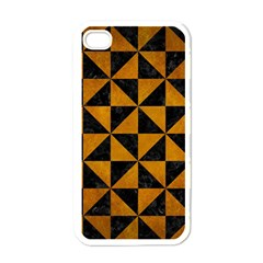 Triangle1 Black Marble & Yellow Grunge Apple Iphone 4 Case (white)