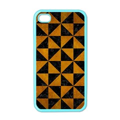 Triangle1 Black Marble & Yellow Grunge Apple Iphone 4 Case (color)