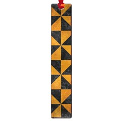 Triangle1 Black Marble & Yellow Grunge Large Book Marks