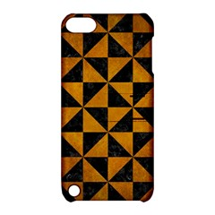 Triangle1 Black Marble & Yellow Grunge Apple Ipod Touch 5 Hardshell Case With Stand