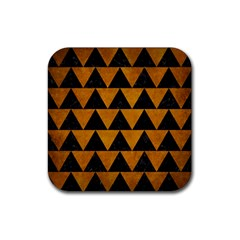 Triangle2 Black Marble & Yellow Grunge Rubber Square Coaster (4 Pack)