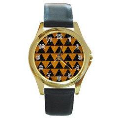 Triangle2 Black Marble & Yellow Grunge Round Gold Metal Watch