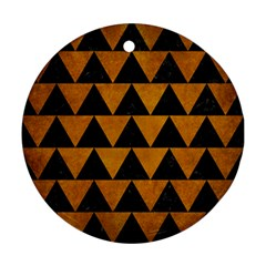 Triangle2 Black Marble & Yellow Grunge Round Ornament (two Sides)
