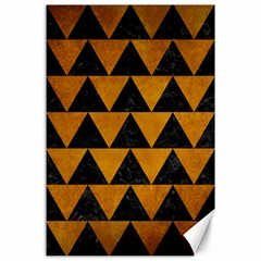 Triangle2 Black Marble & Yellow Grunge Canvas 24  X 36