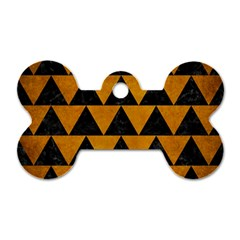 Triangle2 Black Marble & Yellow Grunge Dog Tag Bone (two Sides)