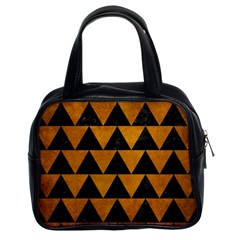 Triangle2 Black Marble & Yellow Grunge Classic Handbags (2 Sides)