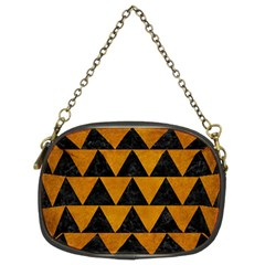 Triangle2 Black Marble & Yellow Grunge Chain Purses (two Sides)