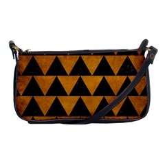 Triangle2 Black Marble & Yellow Grunge Shoulder Clutch Bags