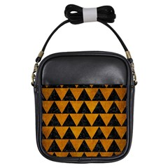 Triangle2 Black Marble & Yellow Grunge Girls Sling Bags
