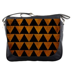 Triangle2 Black Marble & Yellow Grunge Messenger Bags