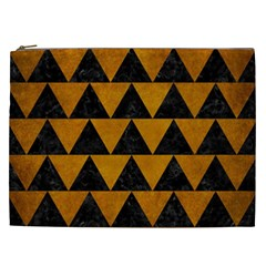 Triangle2 Black Marble & Yellow Grunge Cosmetic Bag (xxl)