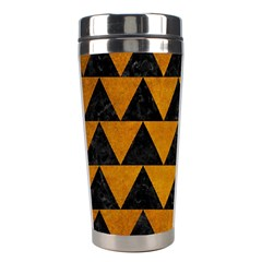 Triangle2 Black Marble & Yellow Grunge Stainless Steel Travel Tumblers