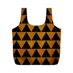 Triangle2 Black Marble & Yellow Grunge Full Print Recycle Bags (m)