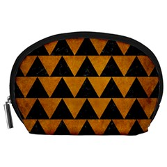 Triangle2 Black Marble & Yellow Grunge Accessory Pouches (large)