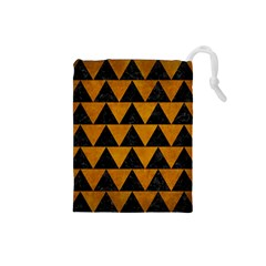 Triangle2 Black Marble & Yellow Grunge Drawstring Pouches (small)