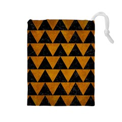 Triangle2 Black Marble & Yellow Grunge Drawstring Pouches (large)