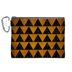 Triangle2 Black Marble & Yellow Grunge Canvas Cosmetic Bag (xl)