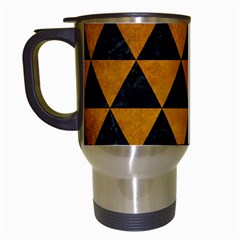 Triangle3 Black Marble & Yellow Grunge Travel Mugs (white)