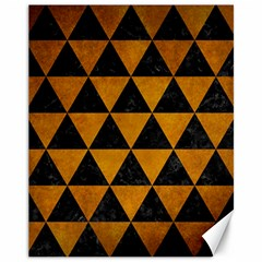 Triangle3 Black Marble & Yellow Grunge Canvas 11  X 14