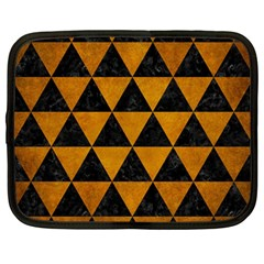 Triangle3 Black Marble & Yellow Grunge Netbook Case (large)