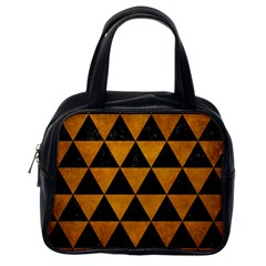 Triangle3 Black Marble & Yellow Grunge Classic Handbags (one Side)