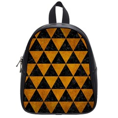 Triangle3 Black Marble & Yellow Grunge School Bag (small)