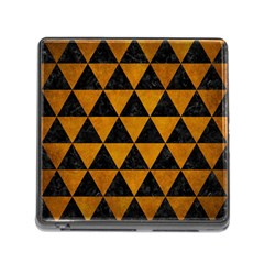 Triangle3 Black Marble & Yellow Grunge Memory Card Reader (square)