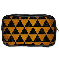 Triangle3 Black Marble & Yellow Grunge Toiletries Bags 2 Side