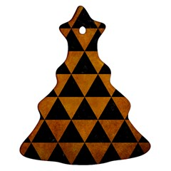 Triangle3 Black Marble & Yellow Grunge Ornament (christmas Tree)