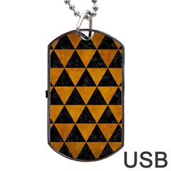 Triangle3 Black Marble & Yellow Grunge Dog Tag Usb Flash (two Sides)