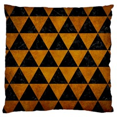 Triangle3 Black Marble & Yellow Grunge Large Cushion Case (two Sides)