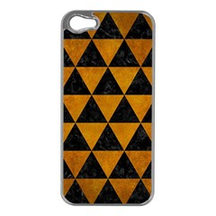 Triangle3 Black Marble & Yellow Grunge Apple Iphone 5 Case (silver)