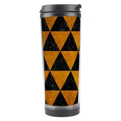 Triangle3 Black Marble & Yellow Grunge Travel Tumbler