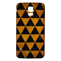 Triangle3 Black Marble & Yellow Grunge Samsung Galaxy S5 Back Case (white)